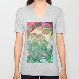 tropical and abstract tropical painting pattern Unisex V-Neck