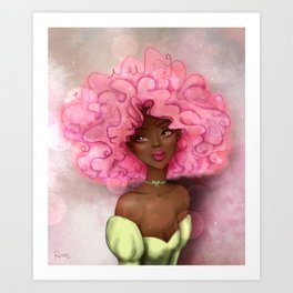 ROSE AFRO LADY Art Print