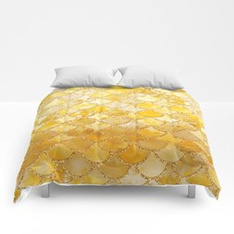 Sunny Gold Colorful Watercolor Trendy Glitter Mermaid Scales Comforters