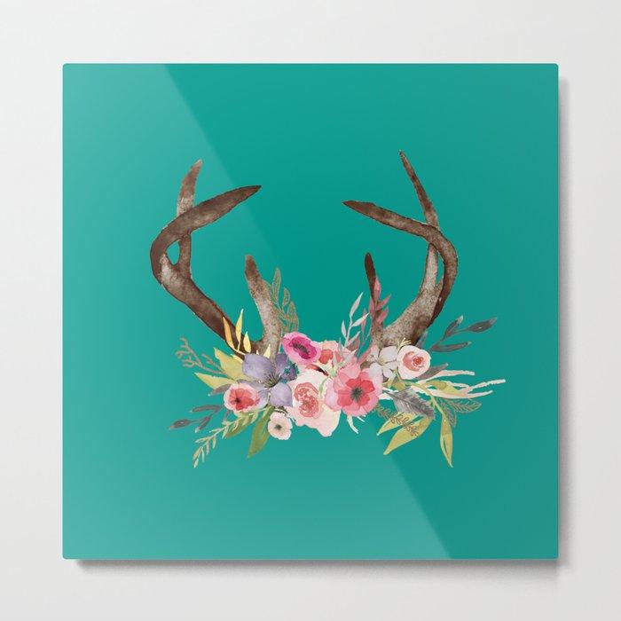 Deer Antlers with flowers Metal Print
