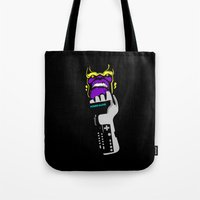 thanos Tote Bags featuring Power Gauntlet by Sauce Designs