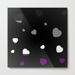 Chaotic Hearts, Pride Flag Series: Asexual Metal Print