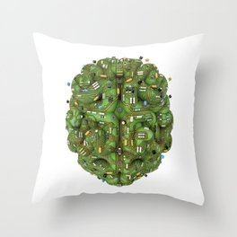 Circuit brain Throw Pillow