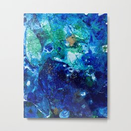 Look Down As The Rain Falls Into The Sea Metal Print