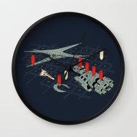 battlestar Wall Clocks featuring You Sunk My Battlestar by Caddywompus
