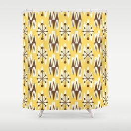 Retro Mid Century Modern Atomic Triangles 728 Brown and Yellow Shower Curtain