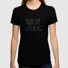Never Stop Exploring: Mount Rainier MEDIUM Black Womens Fitted Tee