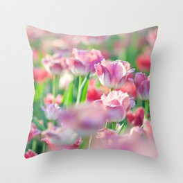 Spring Tulips Redux - The Flower Collection Throw Pillow