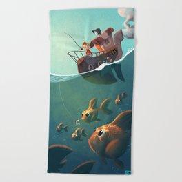 la pêche aux télescopes Beach Towel