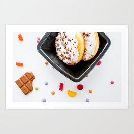 donuts and gummy bears Art Print