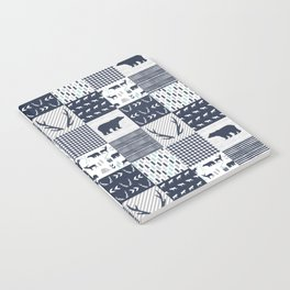 Camper antlers bears pattern minimal nursery basic navy mint grey white camping cabin chalet decor Notebook