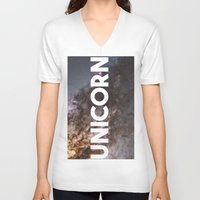 the last unicorn V-neck T-shirts featuring Unicorn by eARTh