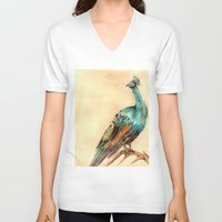 peacock V-neck T-shirts featuring Peacock by Goosi