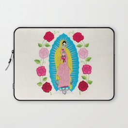 Skull Virgin of Guadalupe_ Hand embroidered Laptop Sleeve