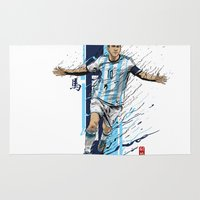 messi Area & Throw Rugs featuring Football Legends: Lionel Messi - Argentina by Akyanyme