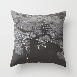 Bosston - City Map I Throw Pillow
