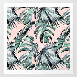 Island Love Coral Pink + Green Art Print