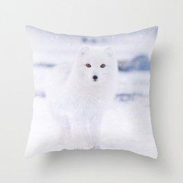 Artic Fox Eyes Throw Pillow