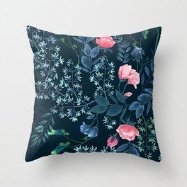 Floral - Blue & Pink Throw Pillow