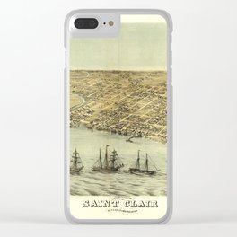 Bird's Eye View of Saint Clair, Michigan (1868) Clear iPhone Case