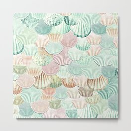 MERMAID SHELLS - MINT & ROSEGOLD Metal Print