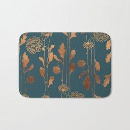 Art Deco Copper Flowers  Bath Mat