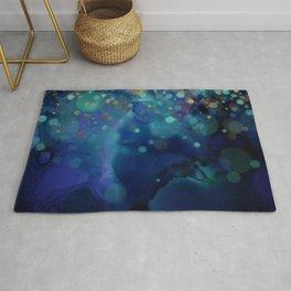 Ocean Blue & Golden Bokeh Confetti Rug