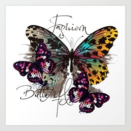 Fashion art print with colorful tropical butterly Art Print