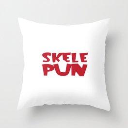 Funny Puns Halloween Can't Run In My Skelepun Skeleton Throw Pillow