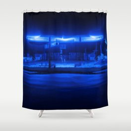 scifi gas station Shower Curtain