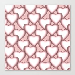 Hearts with lace trim. Canvas Print
