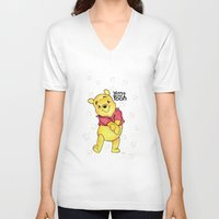 winnie the pooh V-neck T-shirts featuring Winnie the Pooh by Lozza.