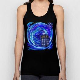 Blue Phone Box with Swirls Unisex Tank Top