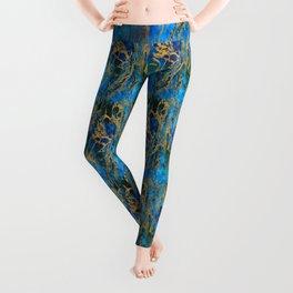 Blue and Gold Swirls Leggings