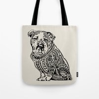 english bulldog Tote Bags featuring Polynesian English Bulldog by Huebucket