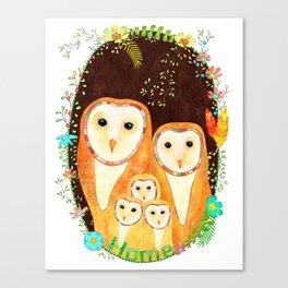 Owl Family Home Canvas Print