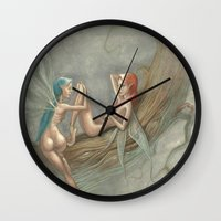 fairies Wall Clocks featuring fairies by george houridis