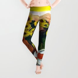 Classical Masterpiece Sunflowers 'Chismosas' by Diego Rivera Leggings