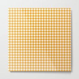 Friendly Houndstooth Pattern, orange Metal Print