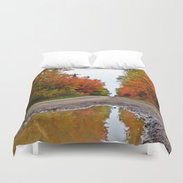 Dirt Road Puddle of Colors Duvet Cover