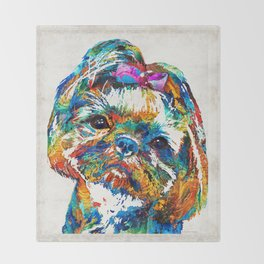 Colorful Shih Tzu Dog Art By Sharon Cummings Throw Blanket
