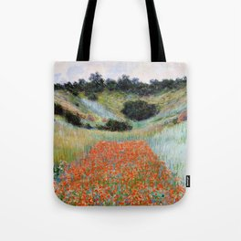 Poppy Field in a Hollow near Giverny by Claude Monet Tote Bag
