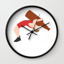Wrestler With A Bottle Of Beer - Beer Ringer Wall Clock