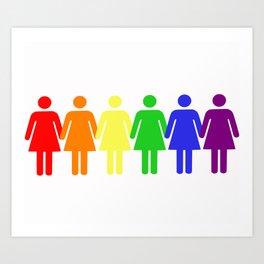 Rainbow Women (Lesbian, LGBT) Art Print