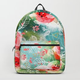 Abstract painting nature and geometric Backpack