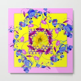 DECORATIVE PINK-YELLOW BLUE FLORALS Metal Print