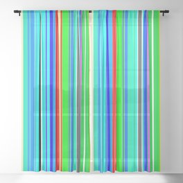 Summers Day Stripes 3 Sheer Curtain
