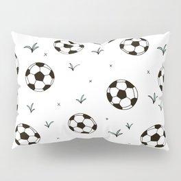 Fun grass and soccer ball sports illustration pattern Pillow Sham