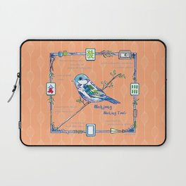 Sparrow Mahjong in Orange Laptop Sleeve