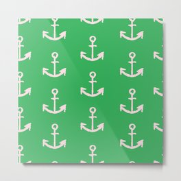 Anchors - Green Metal Print
